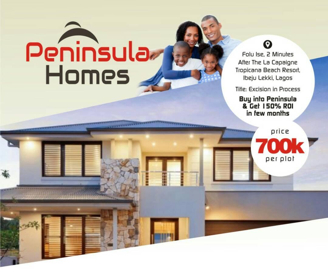 Land for sale in Peninsula Homes Phase 1  2Mins after LA Campaigne Tropicana Beach Resorts Ibeju Lekki Lagos Nigeria