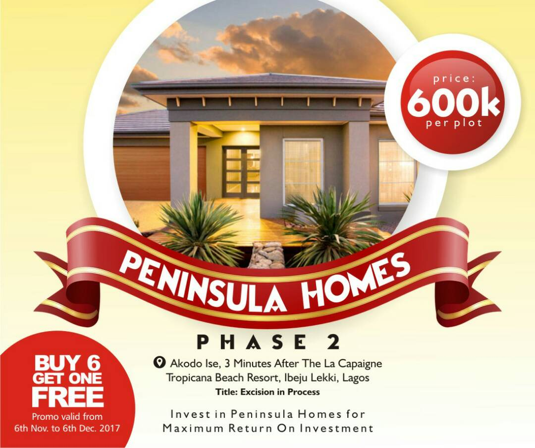 Land for sale in Peninsula Homes Phase 2 Few Mins Drive From Lacampaigne Tropicana Beach Resort Ibeju Lekki Lagos Nigeria